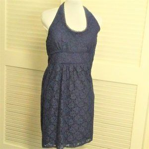 Laundry by Design Navy Blue Eyelet Halter Dress